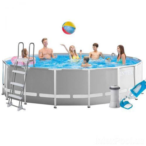 Каркасный бассейн Intex 26726 - 5, 457 x 122 см (3 785 л/ч, лестница, тент, подстилка, набор для ухода)