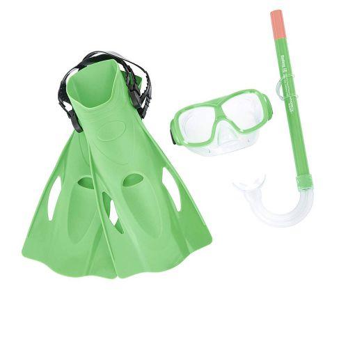 Набор 3 в 1 для плавания Bestway 25019, размер М (маска: размер M, (8+), обхват головы ≈ 52 см, трубка, ласты: размер M, 37-40 (EU), под стопу ≈ 24 см), синий, зеленый