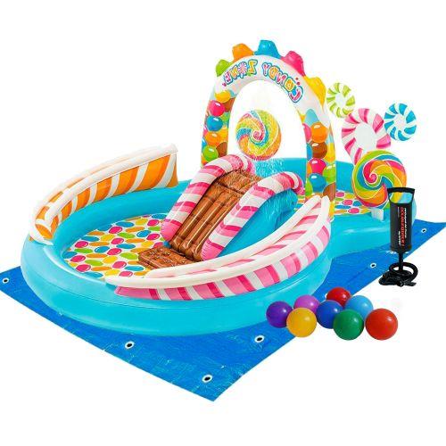 Надувной игровой центр Intex 57149-2 «Сладости», 259 х 191 х 130 см, с шариками 16 шт, подстилкой, насосом