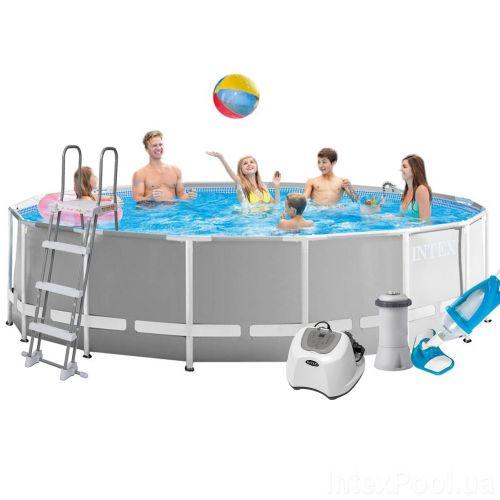 Каркасный бассейн Intex 26726 - 6, 457 x 122 см (4 г/ч, 3 785 л/ч, тент, подстилка, лестница, набор для ухода)