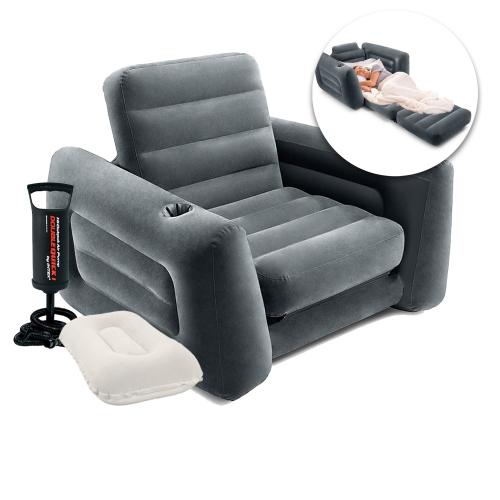 Надувное кресло Intex 66551-2, 224 х 117 х 66 см, с ручным насосом и подушкой , черное