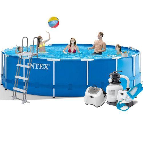 Каркасный бассейн Intex 28242 - 7, 457 x 122 см (5 г/ч,  6 000 л/ч, лестница, тент, подстилка, набор для ухода)
