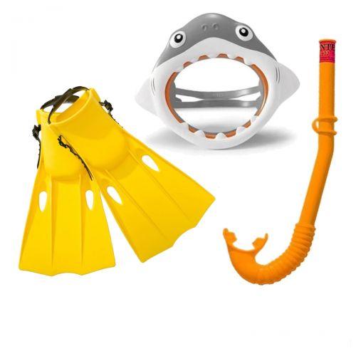 Набор 3 в 1 для плавания Intex 55600 «Акула», размер S (маска 55915: размер S, (3+), обхват головы ≈ 50 см, трубка 55922, ласты 55936: размер S, 35-37 (EU), под стопу ≈ 22-24 см), желтый