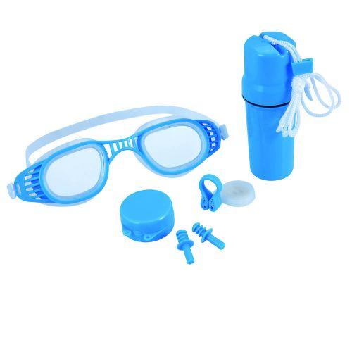 Набор 3 в 1 для плавания Bestway 26002 (очки: размер M, (8+), обхват головы ≈ 52 см, беруши, клипса для носа, колба), синий