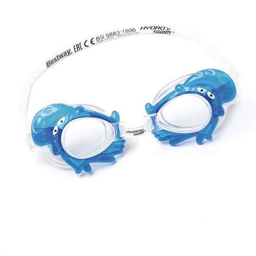 """Детские очки для плавания """"Бегемот"""" Bestway 21047, размер S (3+), обхват головы ≈ 48-52 см, голубые"""