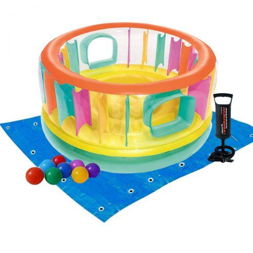 Надувной батут Bestway 52262-2 «Bounce Jam Bouncer», 180 х 86 см, с шариками 10 шт, подстилкой, насосом