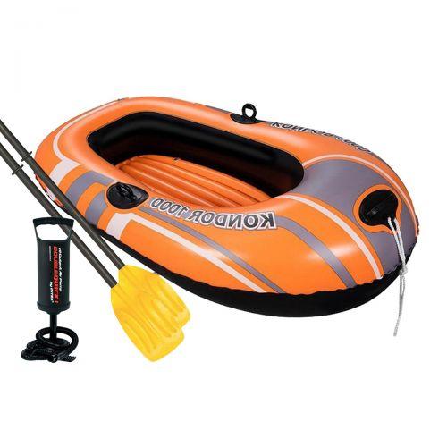 Одноместная надувная лодка Bestway 61099-2 NE, Kondor 1000 (Hydro Force), 145 х 84 см (весла, ручной насос). 2-х камерная