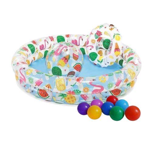 Детский надувной бассейн Intex 59460-1 «Фрукты», 122 х 25 см, с мячиком и кругом, с шариками 10 шт