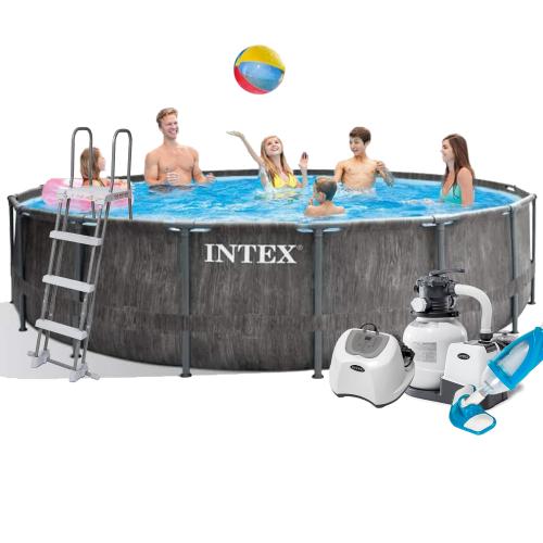 Каркасный бассейн Intex 26742 - 11, 457 x 122 см (5 г/ч, 6 000 л/ч, лестница, тент, подстилка, набор для ухода)