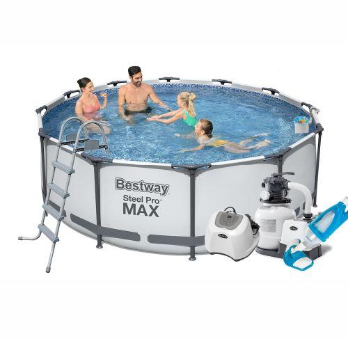 Каркасный бассейн Bestway 56420 - 10, 366 х 122 см (5 г/ч, 6 000 л/ч, лестница, тент, подстилка, набор для ухода)