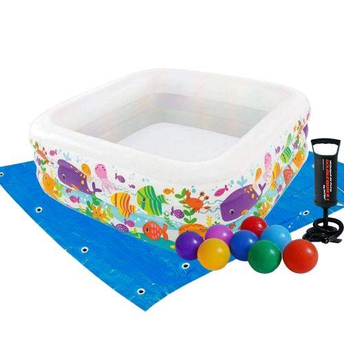 Детский надувной бассейн Intex 57471-2 «Аквариум», 159 х 159 х 50 см, с шариками 10 шт, подстилкой, насосом