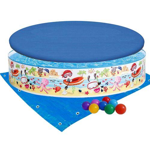 Бассейн детский каркасный Intex 56451-3 «Пляж на мелководье», 152 х 25 см, с шариками 10 шт, тентом, подстилкой