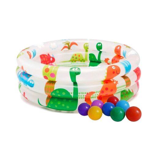 Детский надувной бассейн Intex 57106-1, «Динозавр» 61 х 22 см, с шариками 10 шт