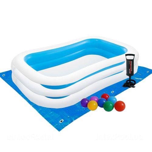 Детский бассейн Intex 56483-2 «Семейный», 262 х 175 х 56 см, с шариками 10 шт, подстилкой, насосом