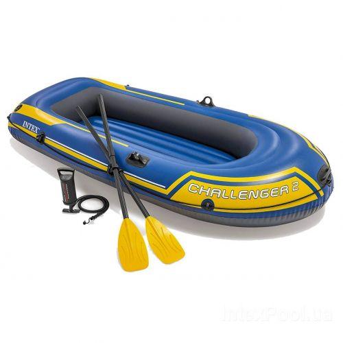 Двухместная надувная лодка Intex 68367 Challenger 2 Set, 236 х 114 см, (весла, ручной насос). 3-х камерная