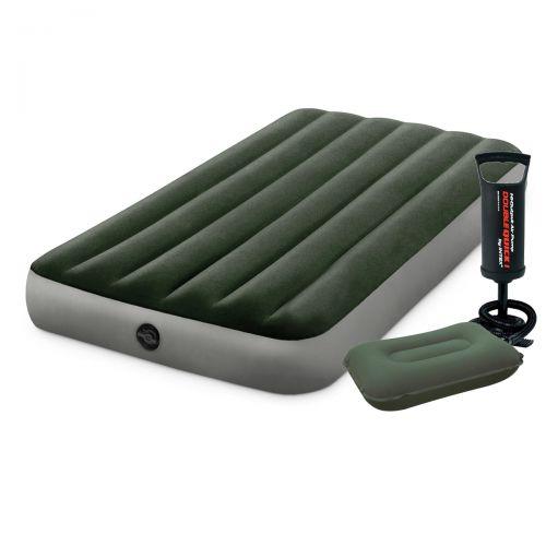 Надувной матрас Intex 64107-2, 99 x 191 x 25 см, с подушкой, насосом. Одноместный
