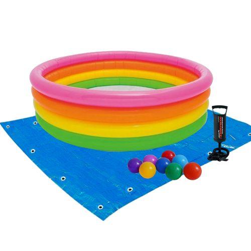 Детский надувной бассейн Intex 56441-2 «Радуга», 168 х 46 см, с шариками 10 шт, подстилкой, насосом