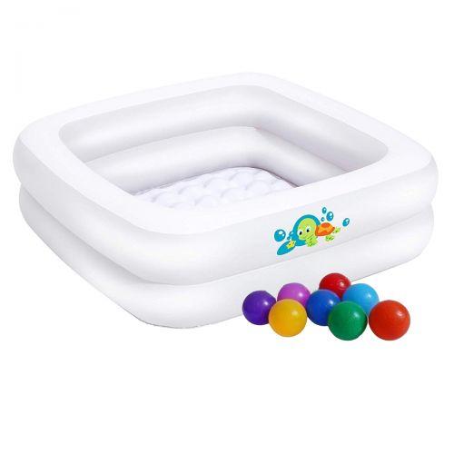 Детский надувной бассейн Bestway 51116-1, белый, 86 х 86 х 25 см, с шариками 10 шт