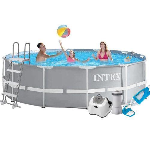 Каркасный бассейн Intex 26718 - 6, 366 х 122 см (4 г/ч, 3 785 л/ч, тент, подстилка, лестница, набор для ухода)