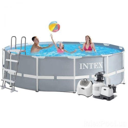 Каркасный бассейн Intex 26718 - 11, 366 х 122 см (5 г/ч, 6 000 л/ч, лестница, тент, подстилка, набор для ухода)