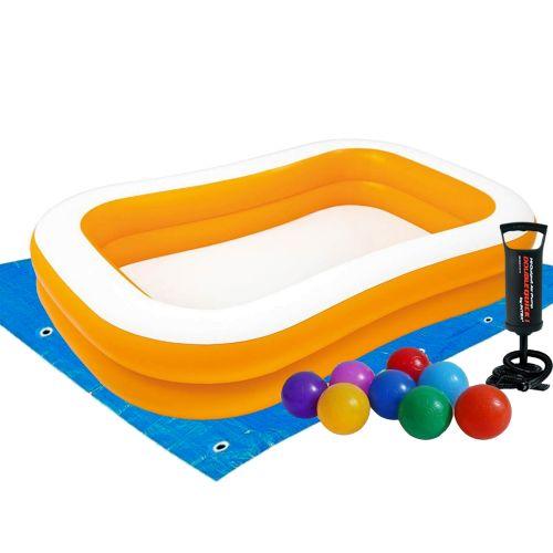 Детский надувной бассейн Intex 57181-2 «Мандарин», 229 х 147 х 46 см, с шариками 10 шт, подстилкой, насосом