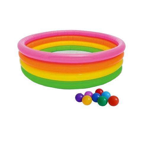 Детский надувной бассейн Intex 56441-1 «Радуга», 168 х 46 см, с шариками 10 шт