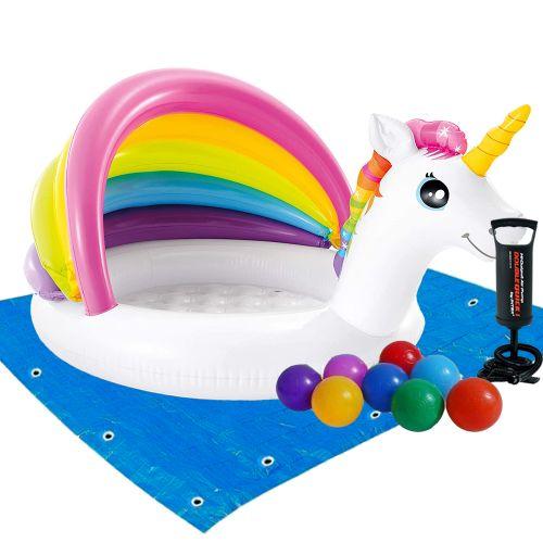 Детский надувной бассейн Intex 57113-2 «Единорог» с навесом, 127 х 102 х 69 см, с шариками 10 шт, подстилкой, насосом