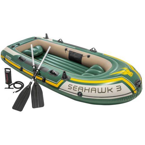 Трехместная надувная лодка Intex 68380 Seahawk 3 Set, 295 х 137 см,  (весла, ручной насос). 3-х камерная