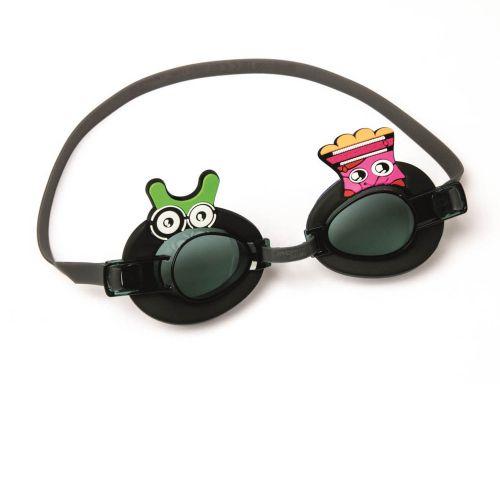 Детские очки для плавания Bestway 21080, размер S (3+), обхват головы ≈ 48-52 см, черные