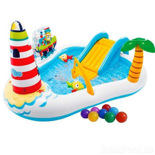 Надувной игровой центр Intex 57162-1 «Веселая Рыбалка», 218 x 188 x 99 см, с надувной удочкой, 2 рыбки, с шариками 16 шт
