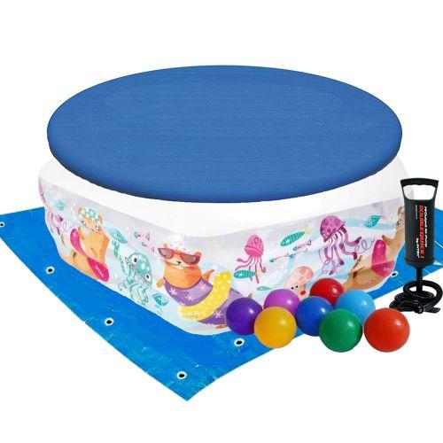 Детский надувной бассейн Intex 56493-3 «Океанский Риф», 191 х 178 х 61 см, с шариками 10 шт, тентом, подстилкой, насосом