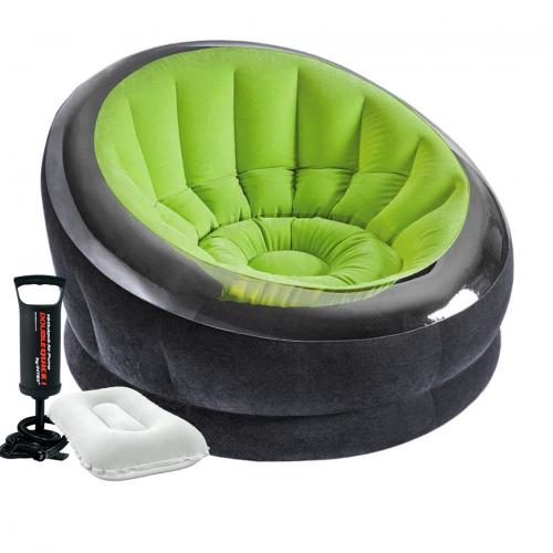 Надувное кресло Intex 66581-2, 112 х 109 х 69 см, с ручным насосом и подушкой, зеленое