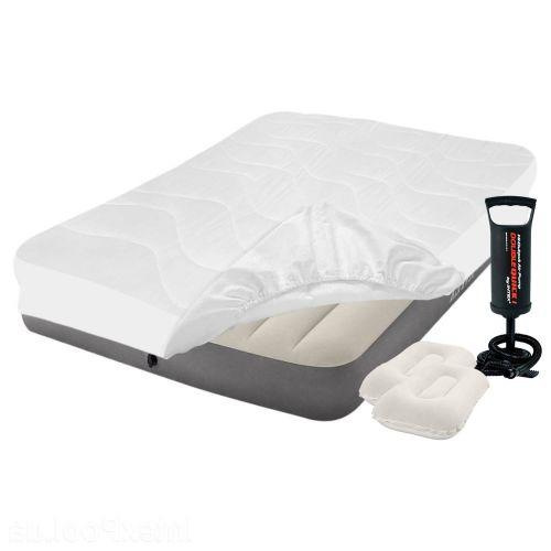 Надувной матрас Intex 64102-3, 137 х 191 х 25 см, с наматрасником-чехлом, двумя подушками и ручным насосом. Полуторный