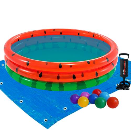 Детский надувной бассейн Intex 58448-2 «Арбуз», 168 х 38 см, с шариками 10 шт, подстилкой, насосом