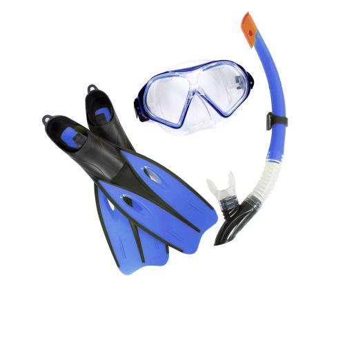 Набор 3 в 1 для плавания Bestway 25022 (маска: размер L, (14+), обхват головы ≈ 54-65 см, трубка, ласты: L, 40-42 (EU), под стопу ≈ 25-26.5 см), синий