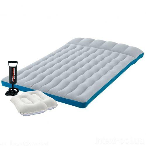 Надувной матрас Intex 67999-1, 127 х 193 х 24 см, с двумя подушками, насосом. Полуторный