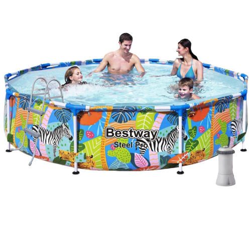Каркасный бассейн Bestway 56985-5, 305 х 66 см (2 006 л/ч, лестница, тент, подстилка)