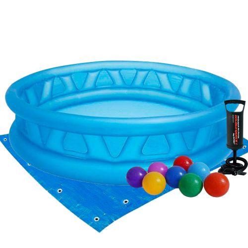 Детский надувной бассейн Intex 58431-2 «Летающая тарелка», 188 х 46 см, с шариками 10 шт, подстилкой и насосом