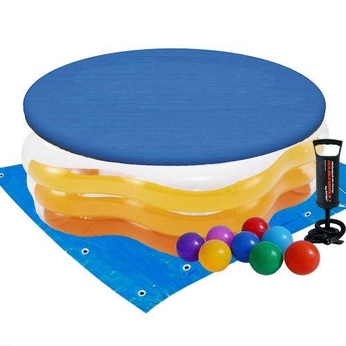 Детский надувной бассейн Intex 56495-3 «Морская звезда», 183 х 180 х 53 см, желтый, с шариками 10 шт, тентом, подстилкой, насосом