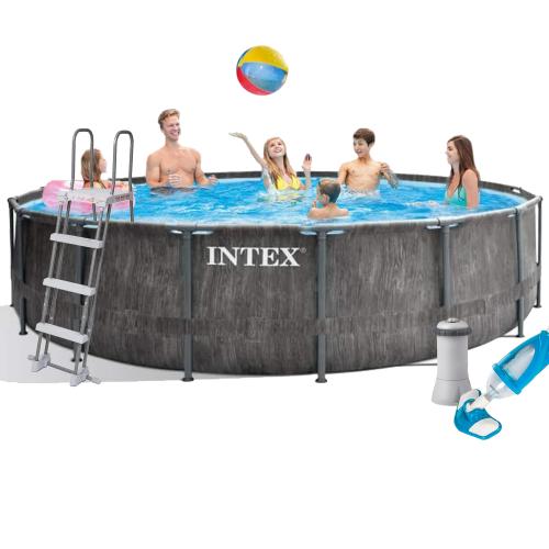 Каркасный бассейн Intex 26742 - 5, 457 x 122 см (3 785 л/ч, лестница, тент, подстилка, набор для ухода)