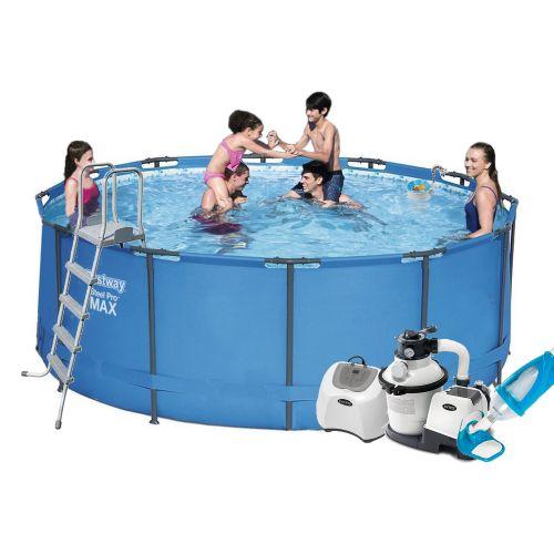 Каркасный бассейн Bestway 15427 - 10, 366 х 133 см (5 г/ч, 6 000 л/ч, лестница, тент, подстилка, набор для ухода)
