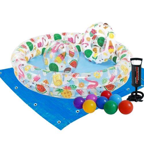 Детский надувной бассейн Intex 59460-2 «Фрукты», 122 х 25 см, с мячиком и кругом, с шариками 10 шт, подстилкой, насосом