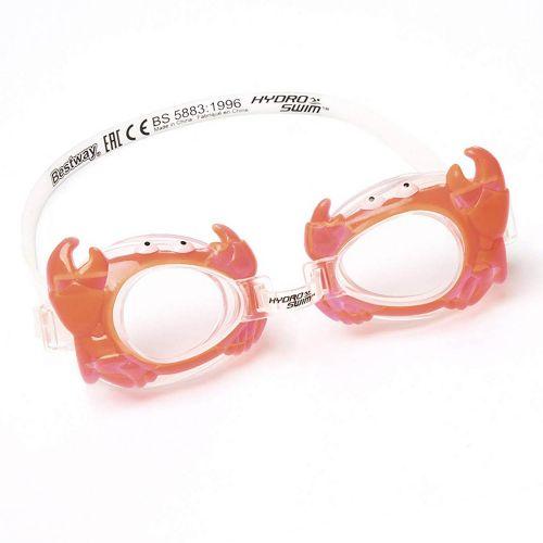 """Детские очки для плавания """"Краб"""" Bestway 21047, размер S (3+), обхват головы ≈ 48-52 см, оранжевые"""