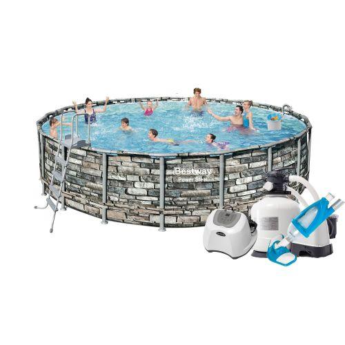 Каркасный бассейн Bestway 56883 - 13, 610 x 132 см (12 г/ч, 10 000 л/ч, лестница, тент, подстилка, набор для ухода)