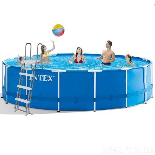 Каркасный бассейн Intex 28242 - 1, 457 x 122 см (тент, подстилка, лестница)