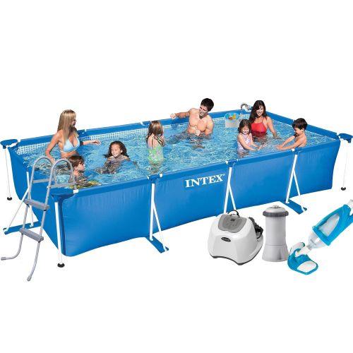 Каркасный бассейн Intex 28273 - 7, 450 х 220 х 84 см (4 г/ч, 3 785 л/ч, лестница, тент, подстилка, набор для ухода)
