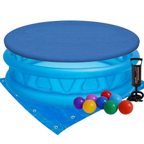 Детский надувной бассейн Intex 58431-3 «Летающая тарелка», 188 х 46 см, с шариками 10 шт, тентом, подстилкой и насосом