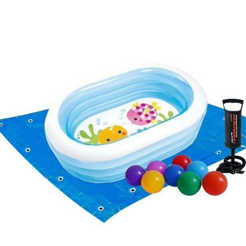 Детский надувной бассейн Intex 57482-2 «Морские друзья», 163 х 107 х 46 см, с шариками 10 шт, подстилкой, насосом