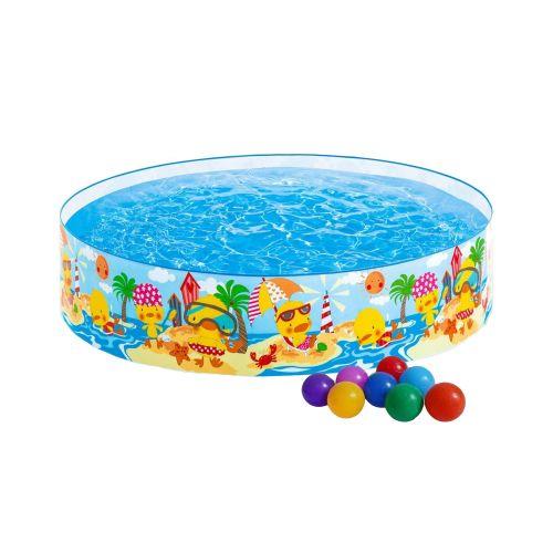 Детский каркасный бассейн Intex 58477-1 «Утинный риф», 122 х 25 см, с шариками 10 шт