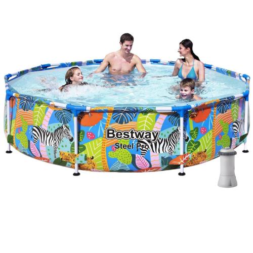 Каркасный бассейн Bestway 56985-4, 305 х 66 см (2 006 л/ч, тент, подстилка)